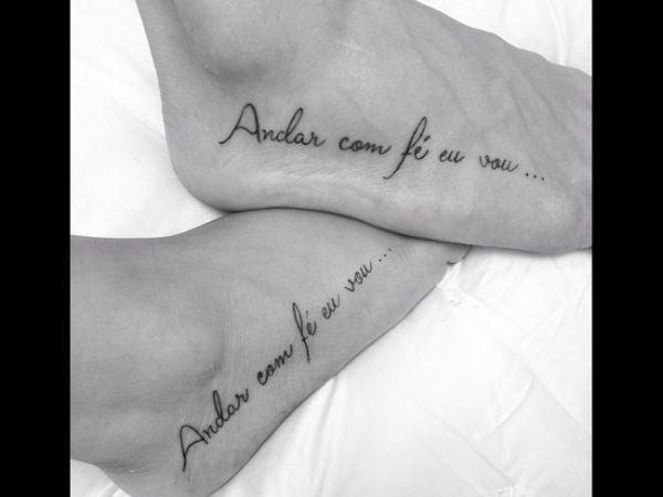 Preta Gil e noivo tatuam trecho de música de Gilberto Gil nos pés