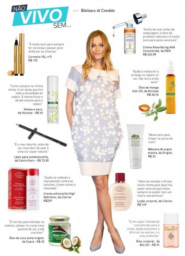 Dicas de top: Bárbara di Creddo lista seus 10 produtos de beleza preferidos