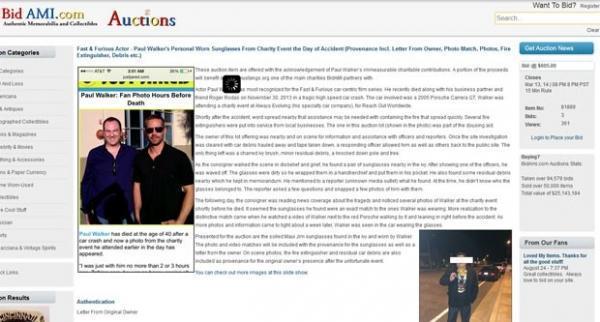 1fc38019d24b1 Homem leiloa supostos óculos usados por Paul Walker no dia de sua morte