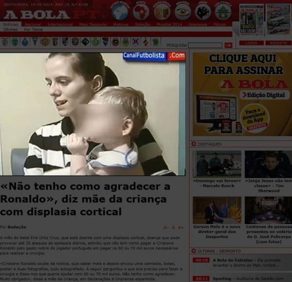 Rico e generoso, CR7 doa R$ 197 mil  a bebê com problema de saúde