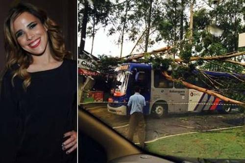 Gr疱ida, Wanessa Camargo presencia um acidente com ibus na rua