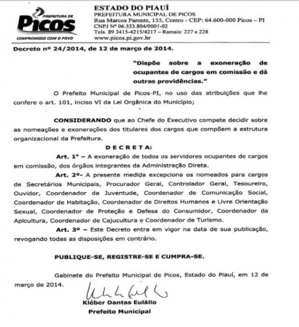 Publicado decreto que demite servidores da prefeitura de Picos
