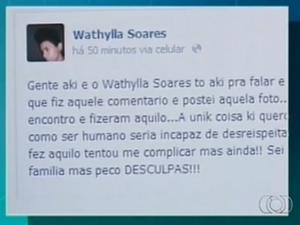 Suspeito de matar por ciúmes pede desculpas à família em rede social