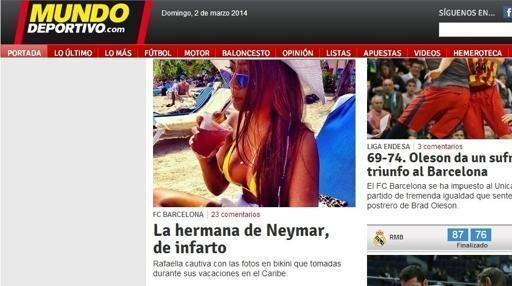 Fotos de biquini da irmã de Neymar impressiona jornal espanhol