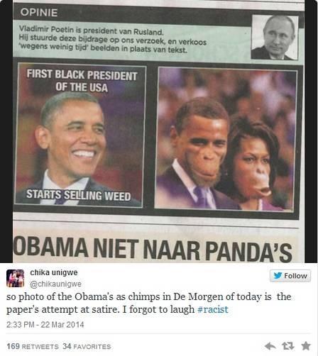 Jornal belga é criticado após publicar imagem de Obama e Michelle representados como macacos