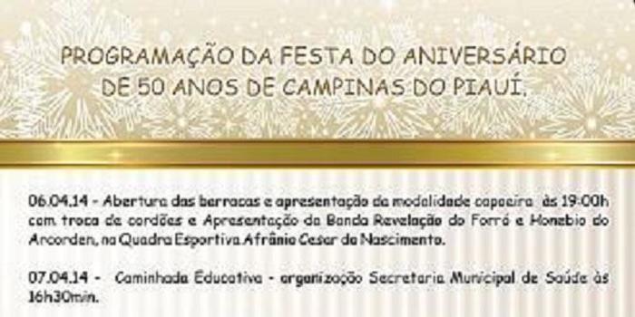 Programação do 50º Aniversário de Campinas do Piauí