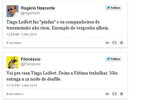 Apresentador na Sapucaí, Tiago Leifert é criticado no Twitter