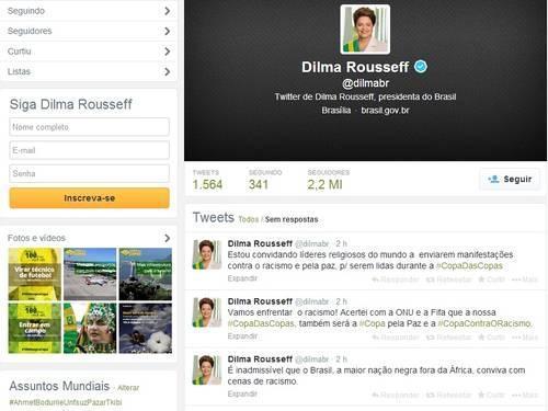 No Twitter, Dilma diz ser inadmissível conviver com racismo no maior país negro fora da África