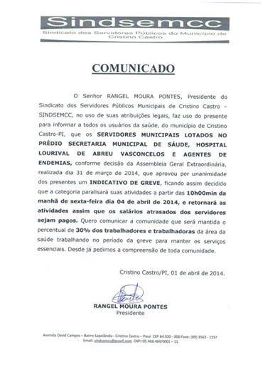 O presidente do SINDSEMCC comunica aos servidores da Saúde a paralisação, motivo salários atrasados