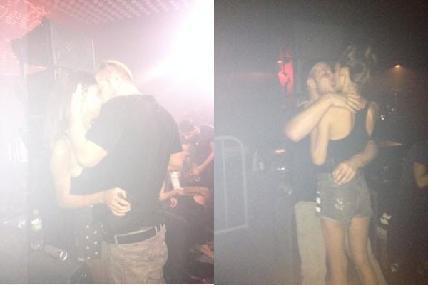 Carol Francischini d beijos calorosos em campe縊 do BBB7 durante festa de moda