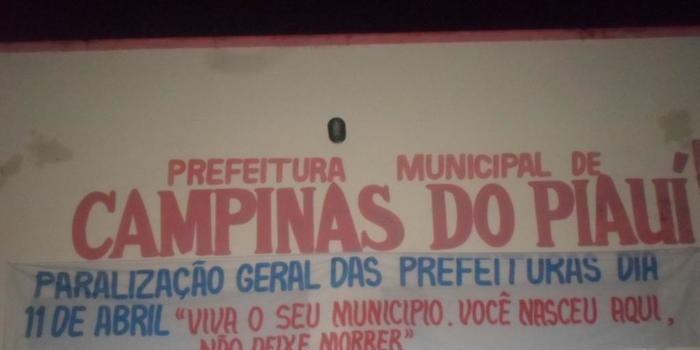 CAMPINAS DO PIAUÍ NA PARALISAÇÃO NACIONAL DAS PREFEITURAS
