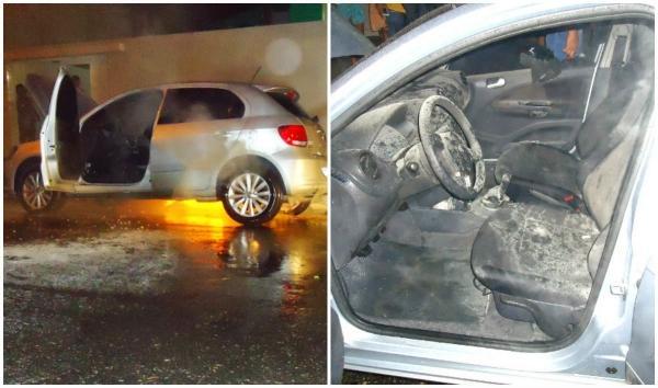 Carro de professor é incêndiado na cidade de Parnaíba