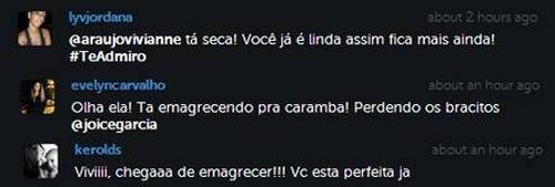 Viviane Araújo surge bem mais fininha, e fãs