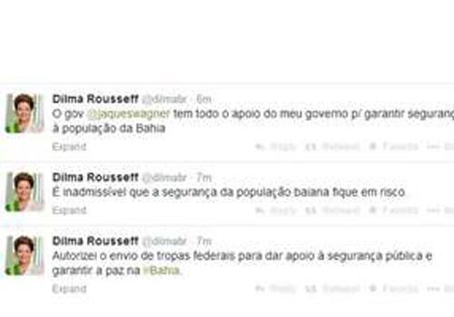 BA: No twitter, Dilma diz que é