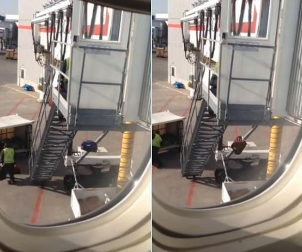 Flagra mostra funcionários jogando bagagens de avião a 6 m de altura