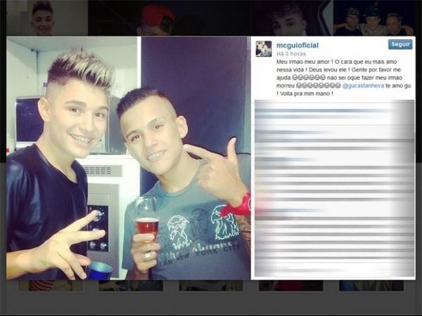 Funkeiro MC Gui lamenta morte do irmão em rede social