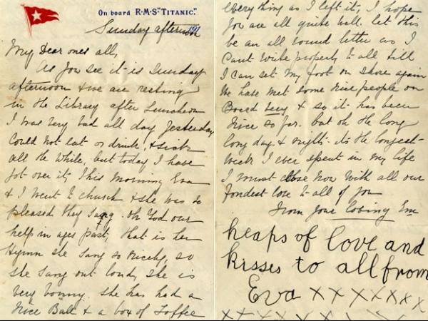 Carta escrita antes de naufrágio do Titanic vai a leilão