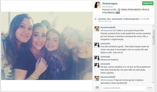 Fãs de Demi Lovato acusam Lívian Aragão de furar fila em show no Rio