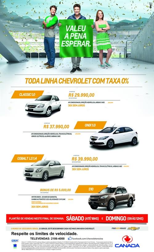 Canada Veículos realiza um plantão de vendas especial com toda linha Chevrolet com taxa zero