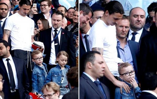 Ibrahimovic usa visual descuidado em ida com os filhos ao estádio
