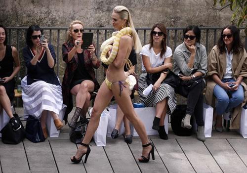 Modelos desfilam com píton albina durante um evento na Austrália
