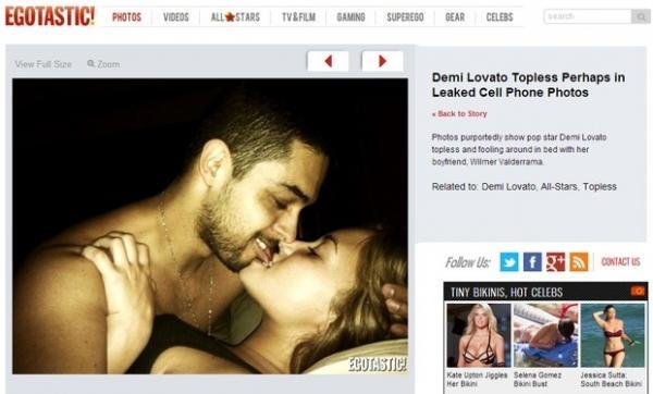 Site divulga fotos íntimas que seriam do celular da cantora Demi Lovato