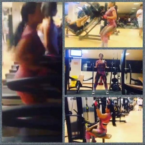 Scheila Carvalho mostra exercícios para manter a boa forma