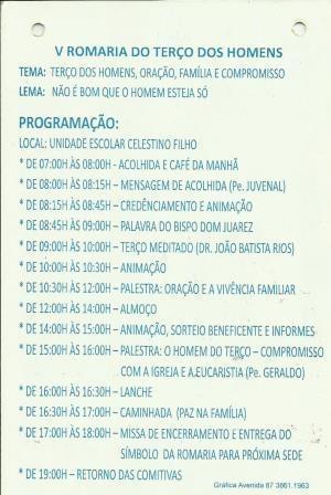 Conceição do Canindé Sediará a V Romaria do Terço dos Homens, confira a programação  - Imagem 1