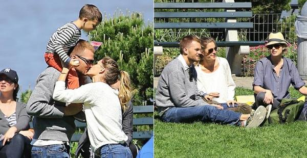 Só love: Gisele Bündchen beija Tom Brady em passeio no parque
