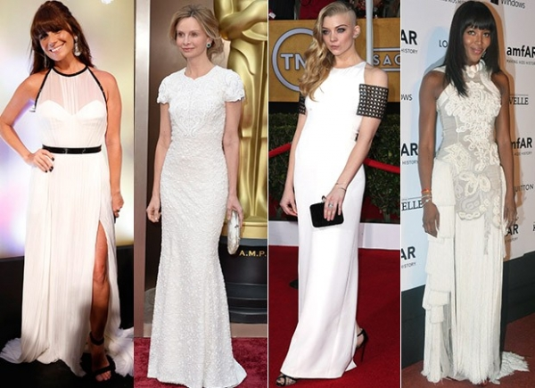 Famosas apostam em vestidos brancos para eventos de gala