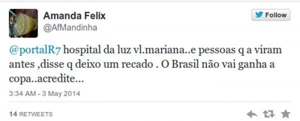 Perfil do Twitter @AfMandinha diz que Mãe Dinah deixou um recado sobre a Copa no Brasil