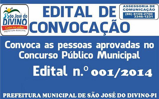 Prefeitura de São José do Divino-PI, lança Edital de Convocação de Concurso Público Nº 001/2014