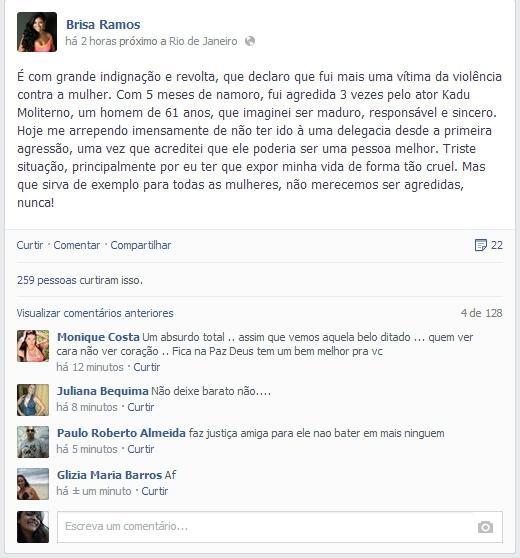 Namorada de Moliterno diz que foi agredida por ator: