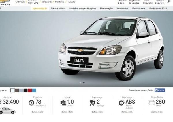 Apesar de não ter sido apresentada ainda, Celta 2015 já aparece no site da Chevrolet