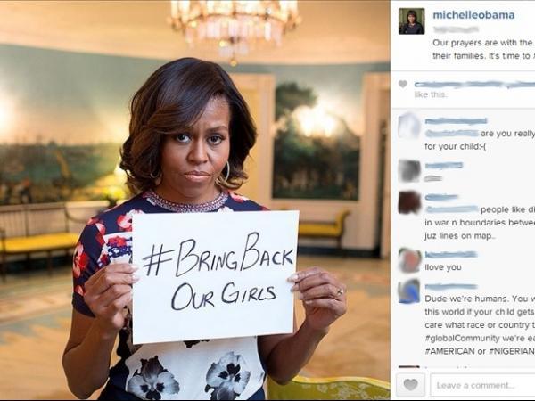 Michelle Obama entra na campanha contra sequestro de jovens na Nig駻ia
