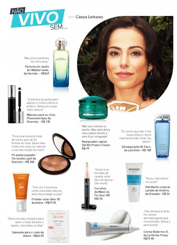Aos 40 anos, C疽sia Linhares lista seus produtos de beleza