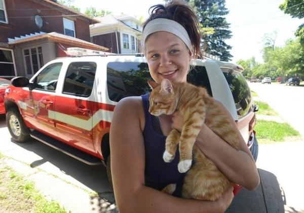 Americana tenta salvar gato e acaba precisando ser resgatada em árvore