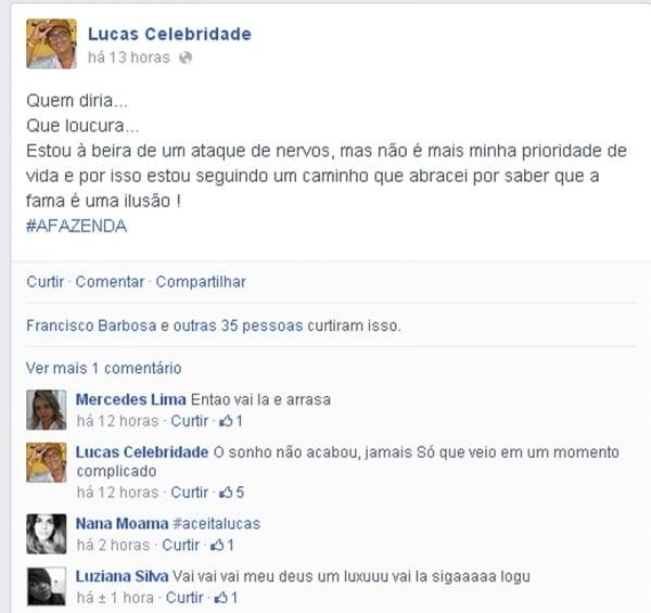 Piauiense Lucas Celebridade recusa convite para participar do reality show