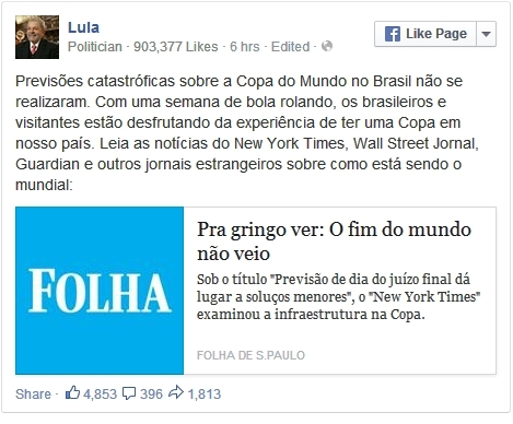 Lula comemora: