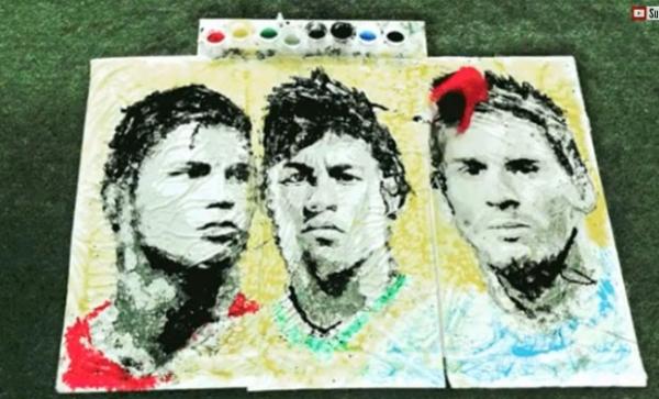 Artista cria retratos de estrelas da Copa usando bola como pincel