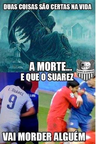 Mordida de Suárez durante jogo vira é a piada da copa na web