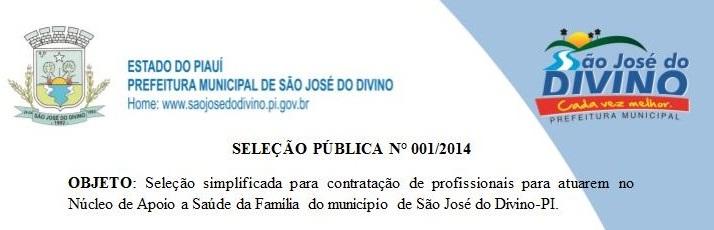 Prefeitura Divulga Relação dos Candidatos Inscritos na Seleção Pública nº 001/2014.