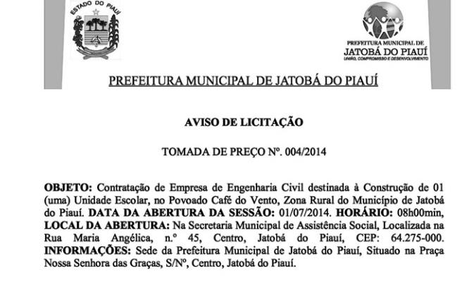 Prefeitura de Jatobá do Piauí licita mais um colégio para o município