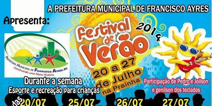 Prefeito e Vice-prefeito convida toda a população a participar do 1° Festival de Verão 2014