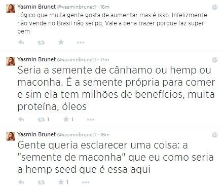 Yasmin Brunet diz comer semente de maconha e que falta esclarecimento