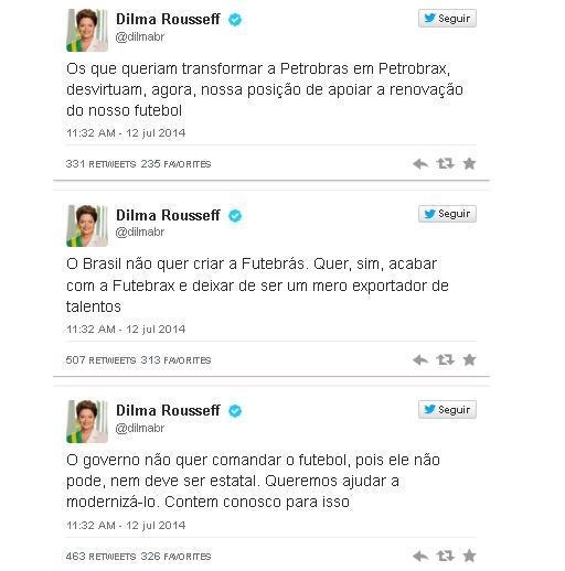 Dilma nega Futebrás, mas defende melhor gestão do futebol