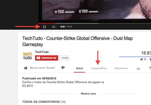 Como compartilhar apenas trechos epecíficos dos vídeos do YouTube