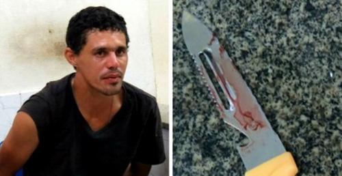 Homem é preso ao tentar matar vigia com um punhal