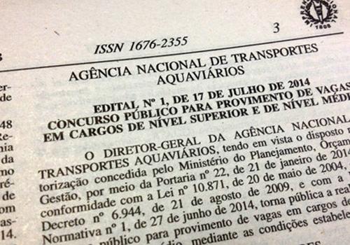 Antaq abre concurso com 143 chances; a maioria para lotação em Brasília