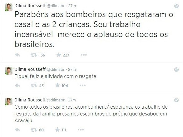 No Twitter, Dilma parabeniza bombeiros por resgate em Aracaju